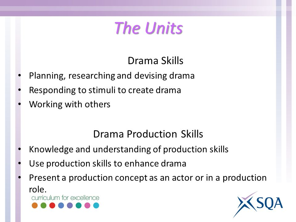 Drama Skills Planning, researching and devising drama Responding to stimuli to create drama Working with others Drama Production Skills Knowledge and understanding of production skills Use production skills to enhance drama Present a production concept as an actor or in a production role.