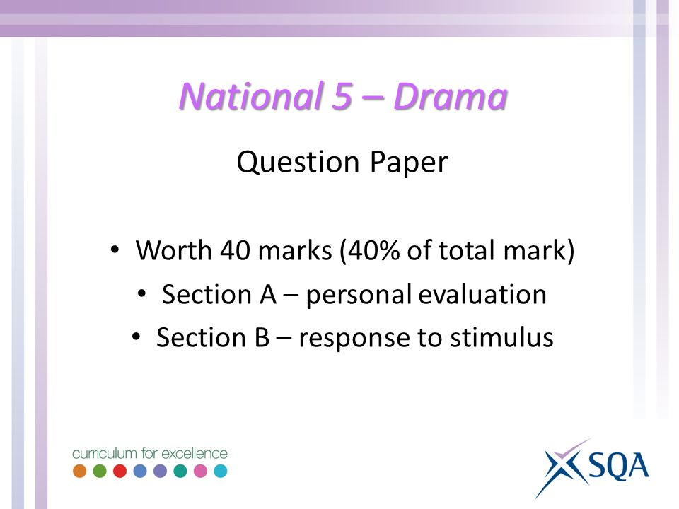 National 5 – Drama Question Paper Worth 40 marks (40% of total mark) Section A – personal evaluation Section B – response to stimulus