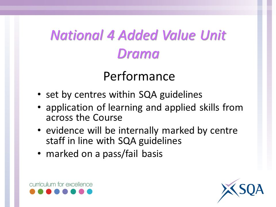 National 4 Added Value Unit Drama Performance set by centres within SQA guidelines application of learning and applied skills from across the Course evidence will be internally marked by centre staff in line with SQA guidelines marked on a pass/fail basis