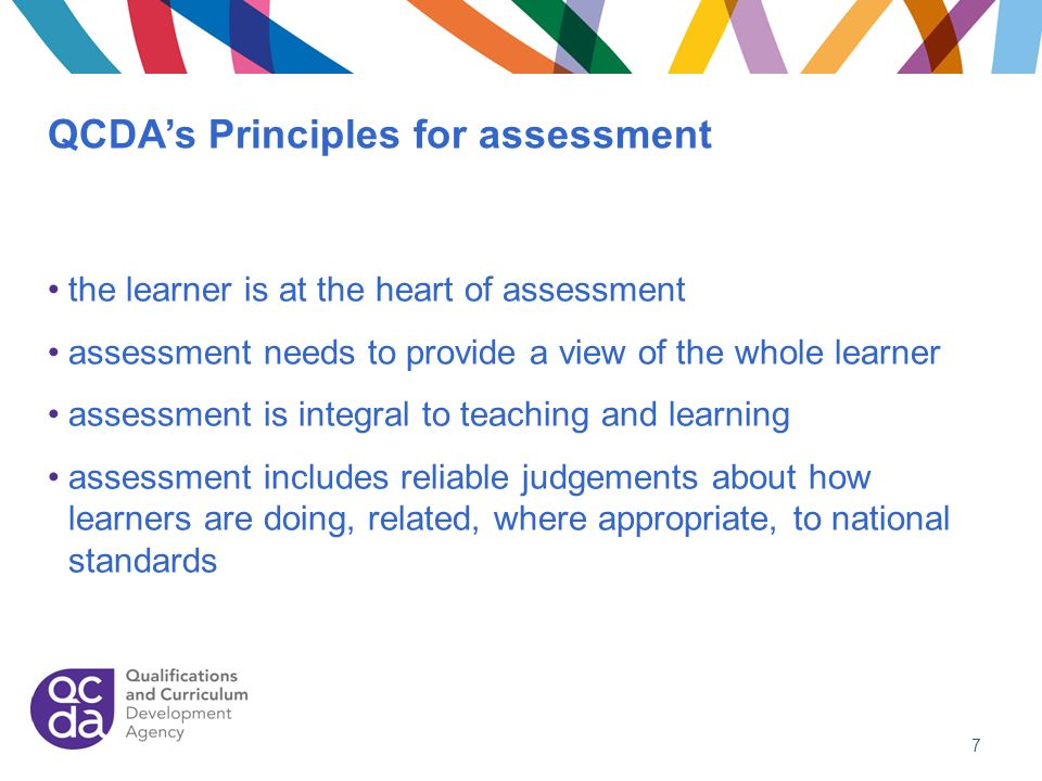 QCDAs Principles for assessment the learner is at the heart of assessment assessment needs to provide a view of the whole learner assessment is integr