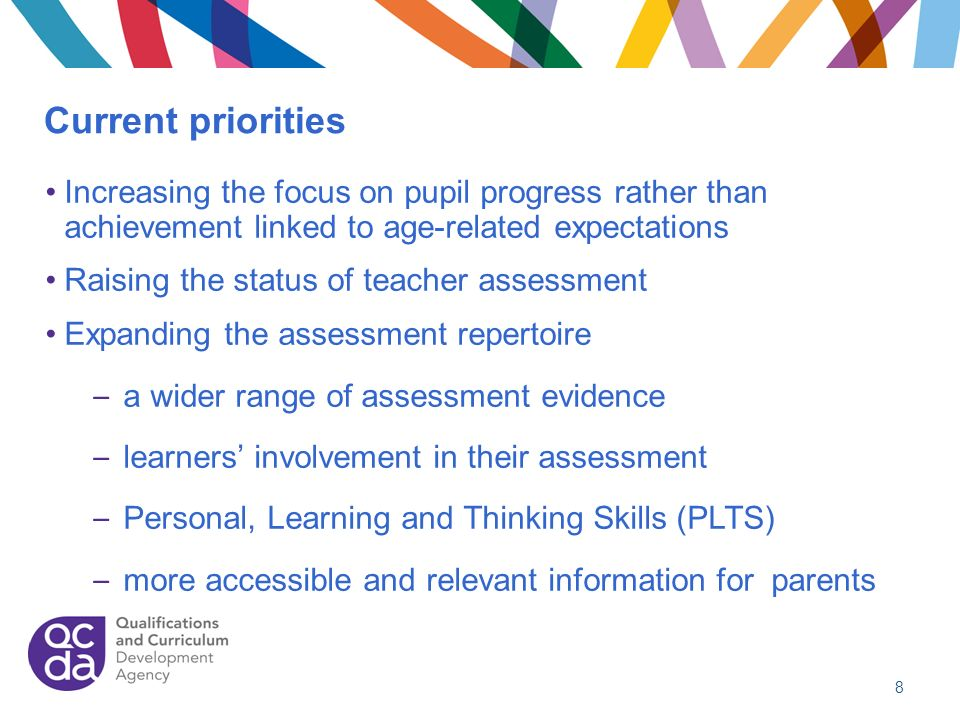 Current priorities Increasing the focus on pupil progress rather than achievement linked to age-related expectations Raising the status of teacher ass