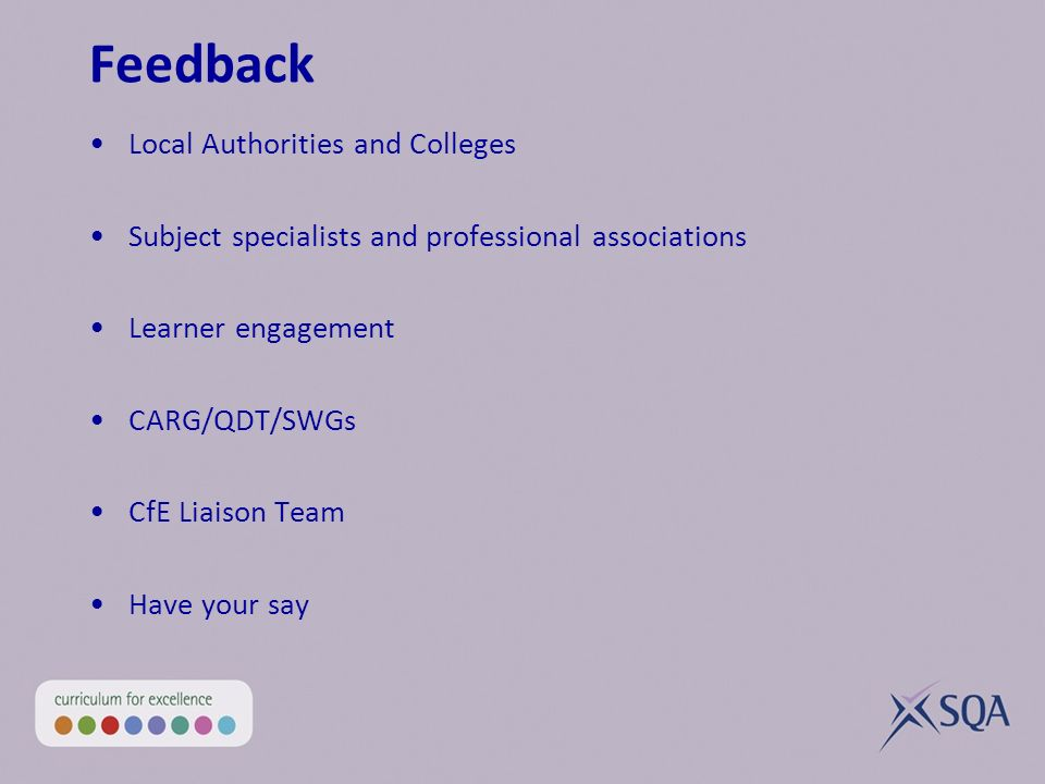 Feedback Local Authorities and Colleges Subject specialists and professional associations Learner engagement CARG/QDT/SWGs CfE Liaison Team Have your say