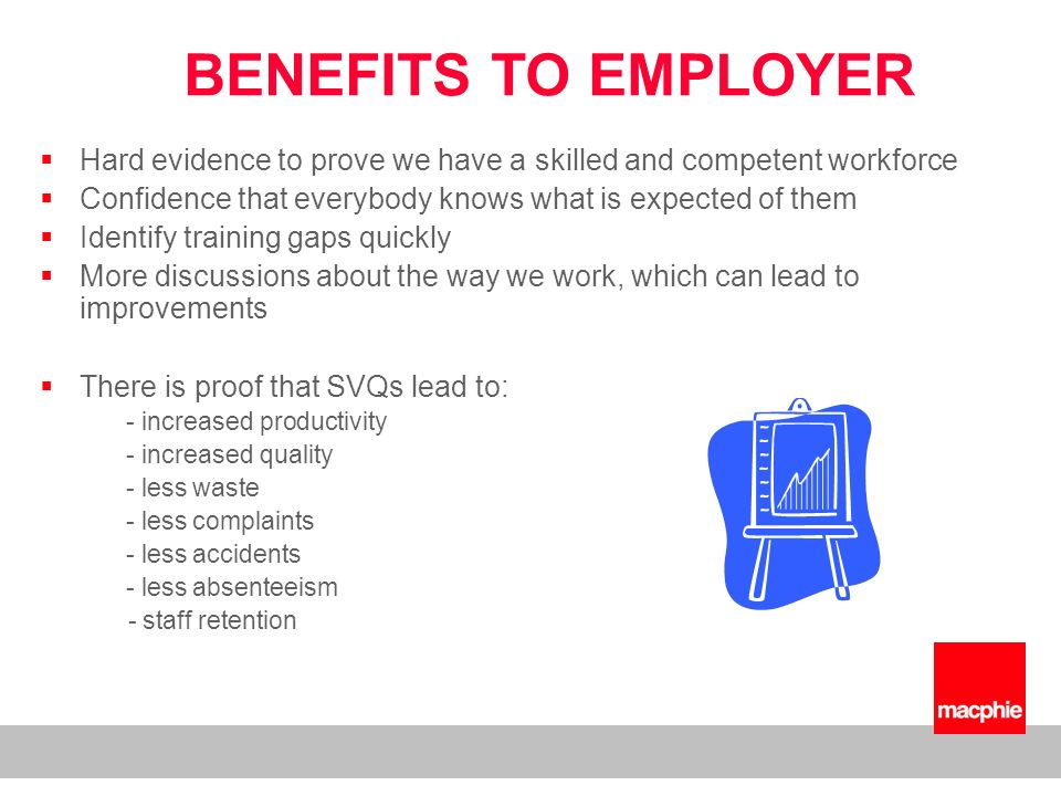 Hard evidence to prove we have a skilled and competent workforce Confidence that everybody knows what is expected of them Identify training gaps quickly More discussions about the way we work, which can lead to improvements There is proof that SVQs lead to: - increased productivity - increased quality - less waste - less complaints - less accidents - less absenteeism - staff retention BENEFITS TO EMPLOYER