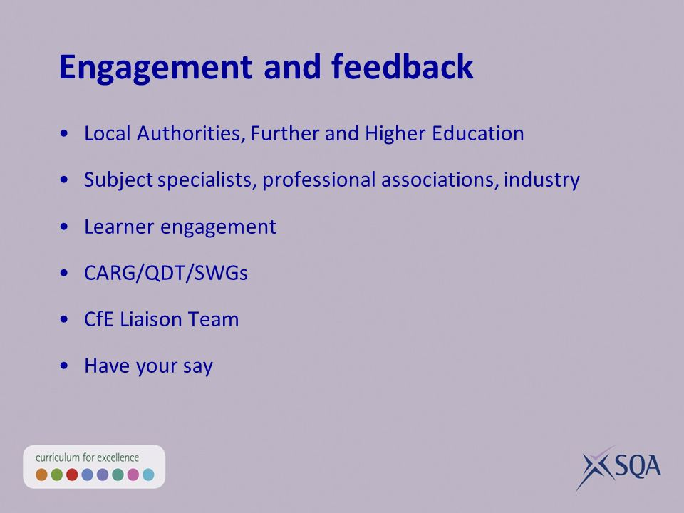 Engagement and feedback Local Authorities, Further and Higher Education Subject specialists, professional associations, industry Learner engagement CA