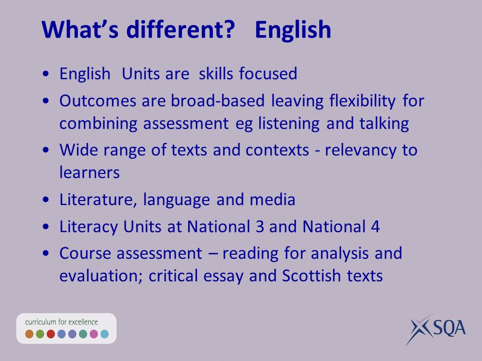 Whats different? English English Units are skills focused Outcomes are broad-based leaving flexibility for combining assessment eg listening and talki