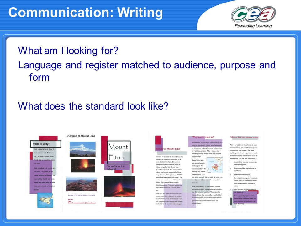 Communication: Writing What am I looking for.