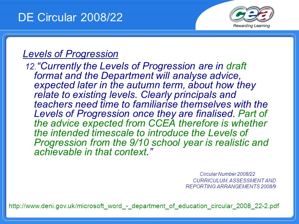 DE Circular 2008/22 Levels of Progression 12.
