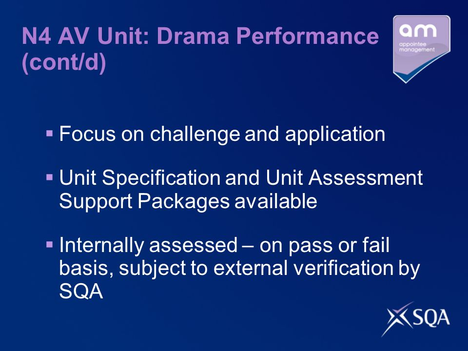 N4 AV Unit: Drama Performance (cont/d) Focus on challenge and application Unit Specification and Unit Assessment Support Packages available Internally