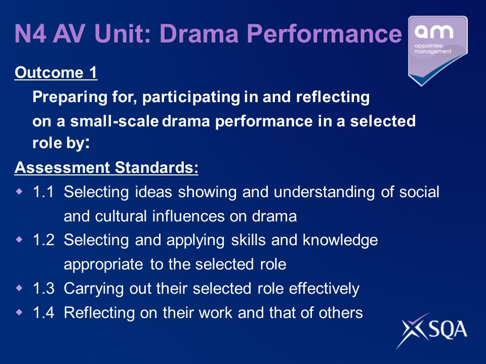 N4 AV Unit: Drama Performance Outcome 1 Preparing for, participating in and reflecting on a small-scale drama performance in a selected role by : Asse