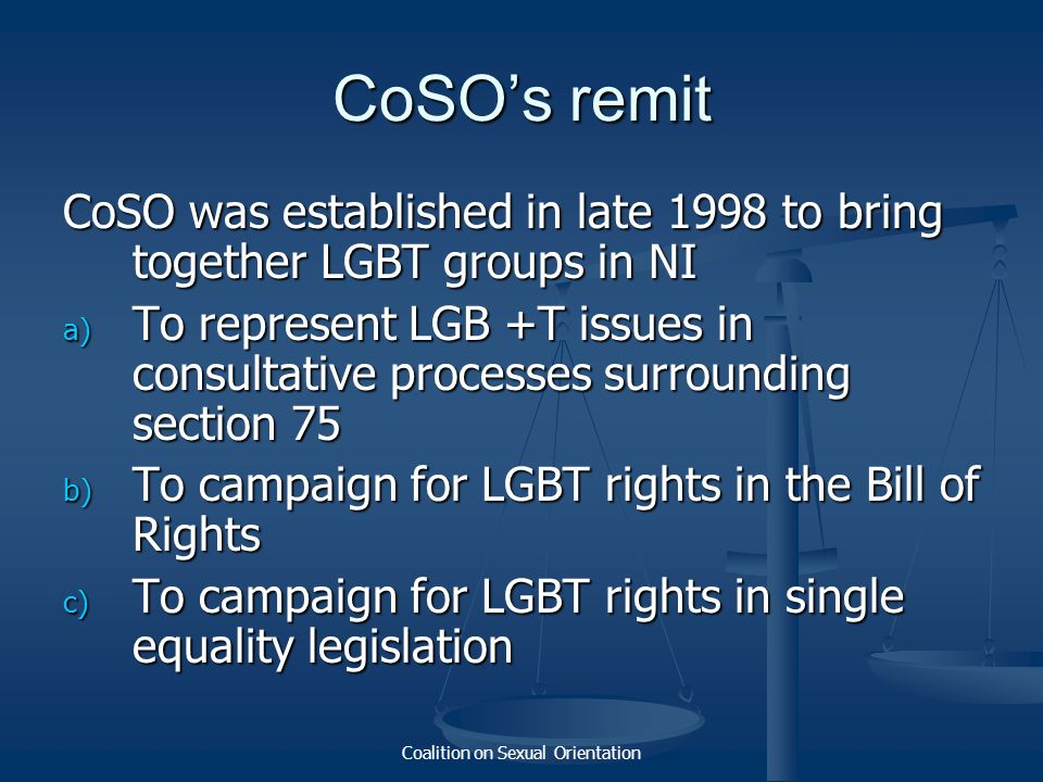 Coalition on Sexual Orientation CoSOs remit CoSO was established in late 1998 to bring together LGBT groups in NI a) To represent LGB +T issues in con