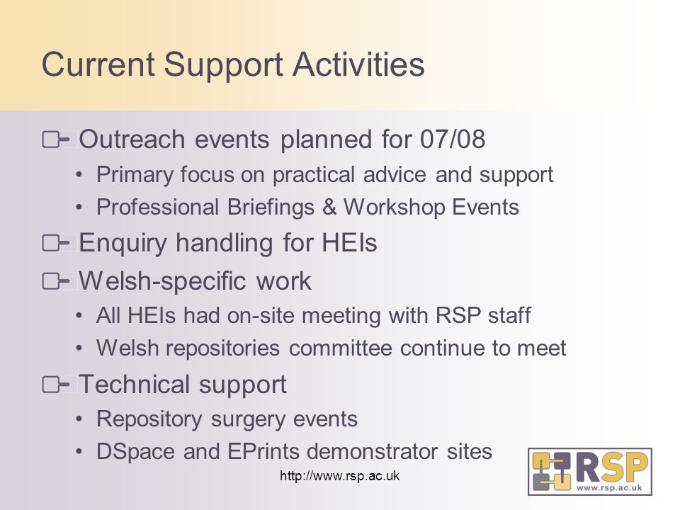 http://www.rsp.ac.uk Current Support Activities Outreach events planned for 07/08 Primary focus on practical advice and support Professional Briefings & Workshop Events Enquiry handling for HEIs Welsh-specific work All HEIs had on-site meeting with RSP staff Welsh repositories committee continue to meet Technical support Repository surgery events DSpace and EPrints demonstrator sites
