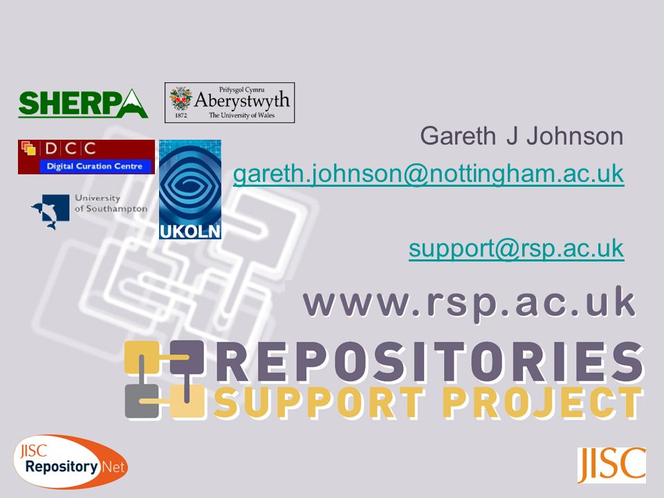 http://www.rsp.ac.uk Gareth J Johnson gareth.johnson@nottingham.ac.uk support@rsp.ac.uk