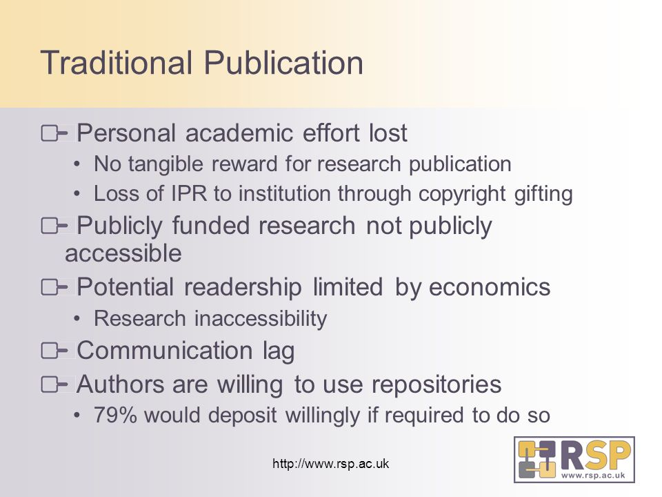 http://www.rsp.ac.uk Traditional Publication Personal academic effort lost No tangible reward for research publication Loss of IPR to institution through copyright gifting Publicly funded research not publicly accessible Potential readership limited by economics Research inaccessibility Communication lag Authors are willing to use repositories 79% would deposit willingly if required to do so