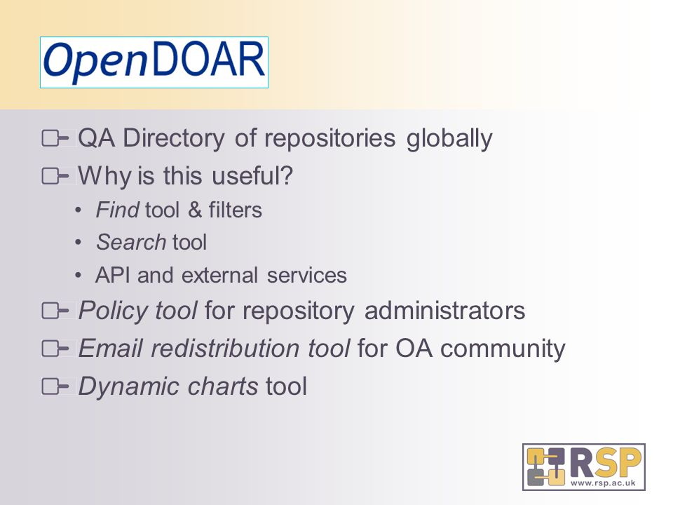 QA Directory of repositories globally Why is this useful.