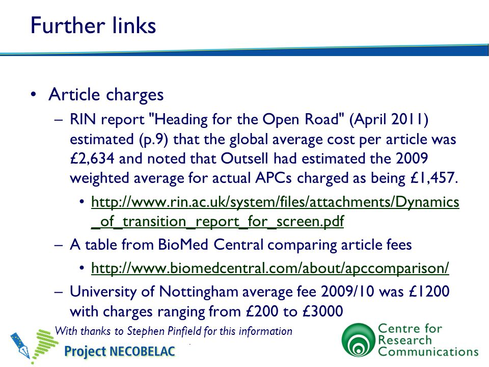 Further links Article charges –RIN report
