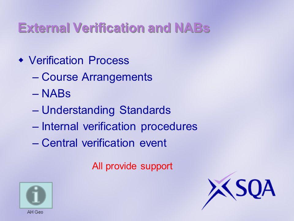 External Verification and NABs Verification Process –Course Arrangements –NABs –Understanding Standards –Internal verification procedures –Central verification event AH Geo All provide support