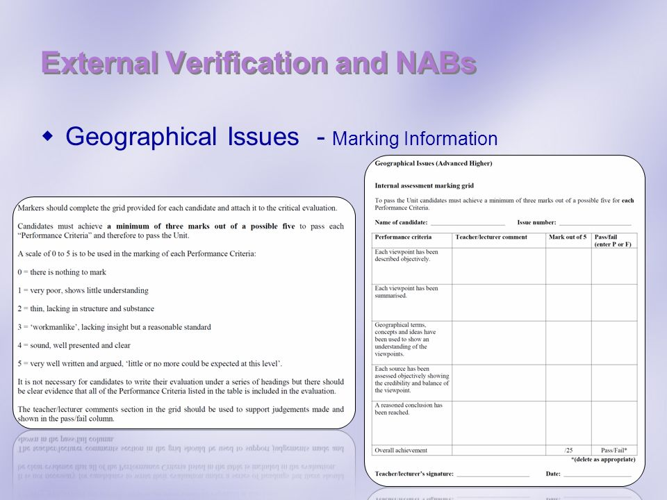 External Verification and NABs Geographical Issues - Marking Information