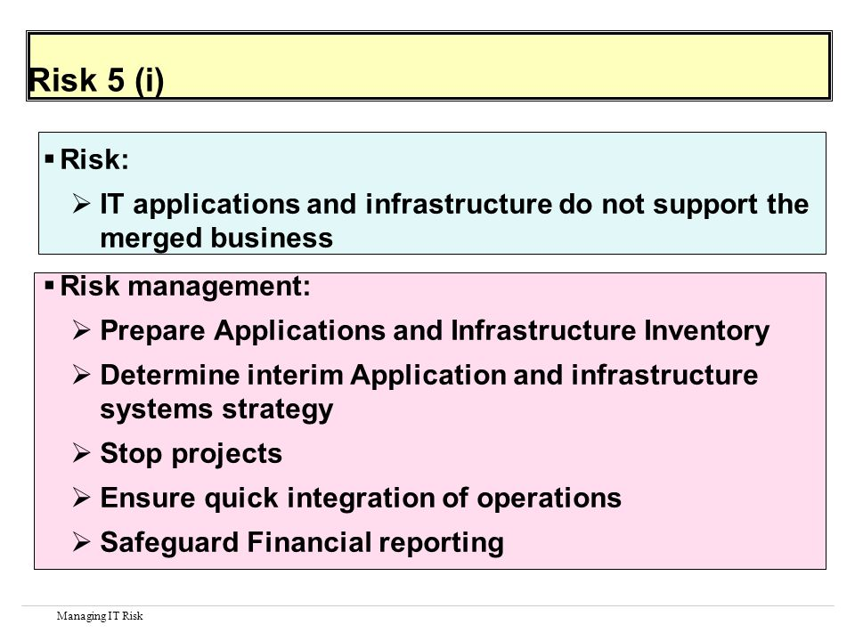 Managing IT Risk Risk 5 (i) Risk: IT applications and infrastructure do not support the merged business Risk management: Prepare Applications and Infrastructure Inventory Determine interim Application and infrastructure systems strategy Stop projects Ensure quick integration of operations Safeguard Financial reporting