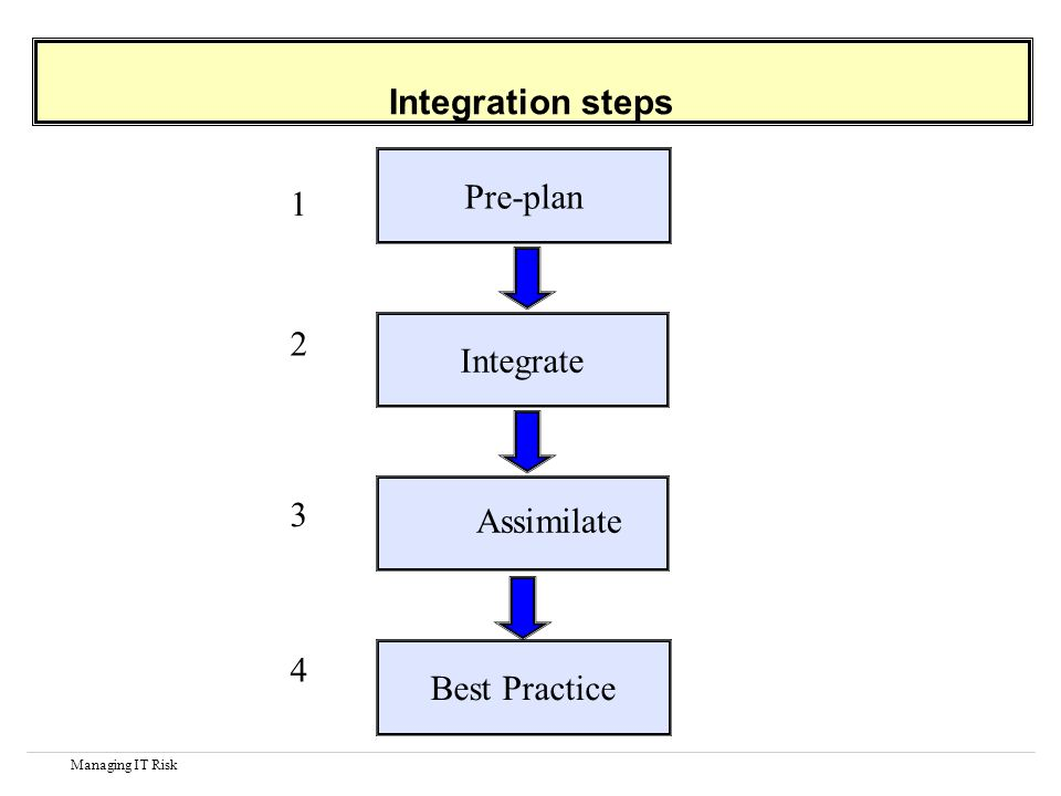 Managing IT Risk Integration steps Pre-plan 1 Integrate 2 Assimilate 3 Best Practice 4