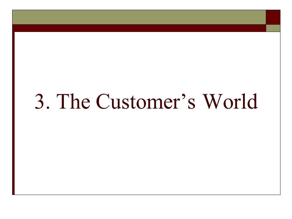 3. The Customers World