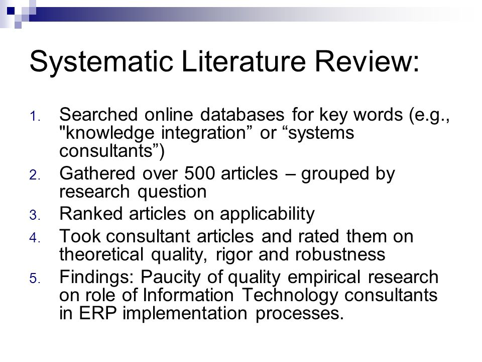 Systematic Literature Review: 1. Searched online databases for key words (e.g.,