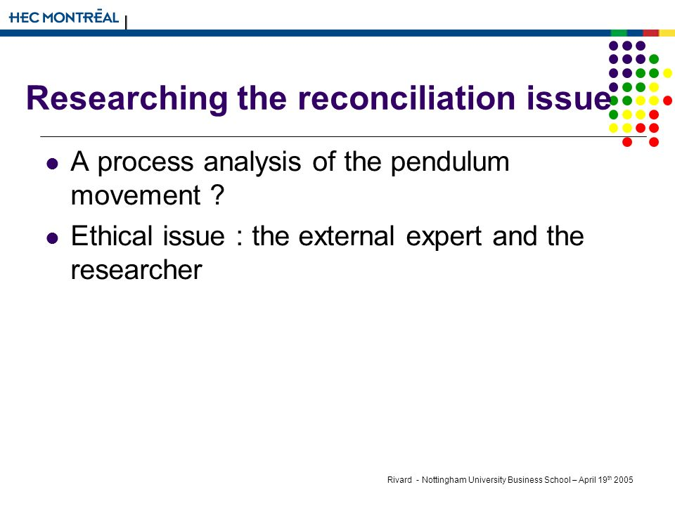 Rivard - Nottingham University Business School – April 19 th 2005 Researching the reconciliation issue A process analysis of the pendulum movement .