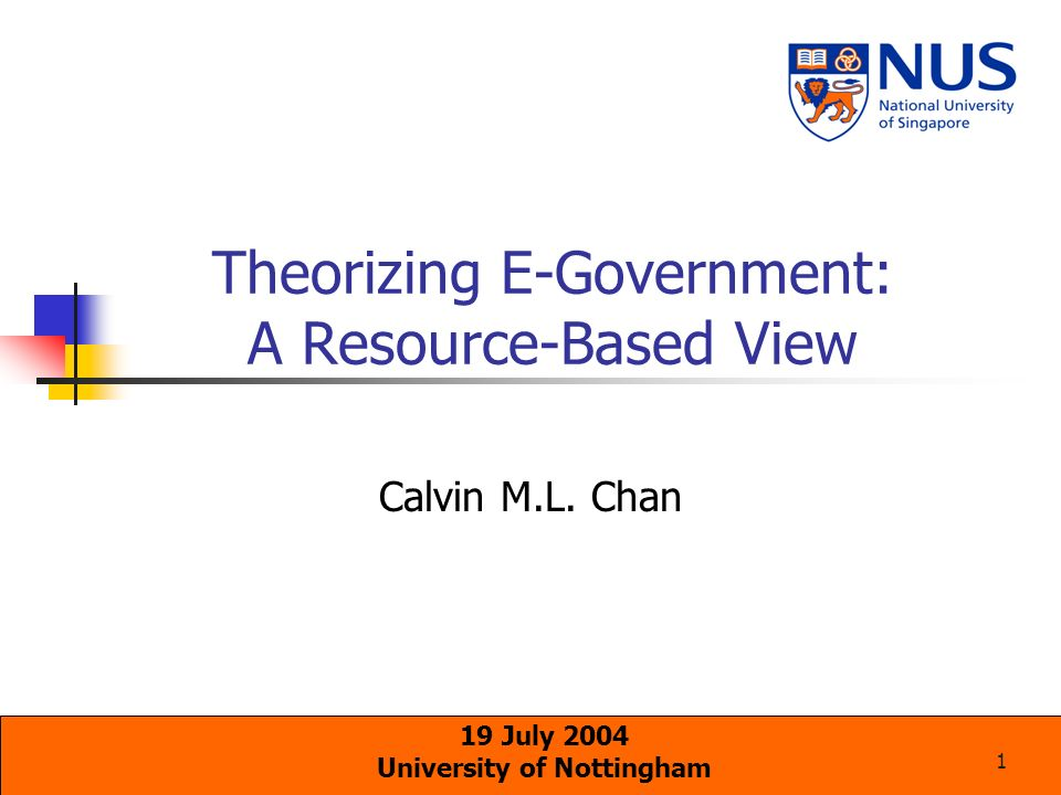 12 Applying Resource Complementarity to E-Government E-Government Phenomenon Resource Complementarity Theory Develop new capabilities through e-Government New capabilities are developed through the complementarity of resources Challenges of e-Government are mostly organisational & social IT resources play an interdependent role with other organisational resources Few empirical studies on e-government at the organisational level exist Resource-based view is an organisational theory