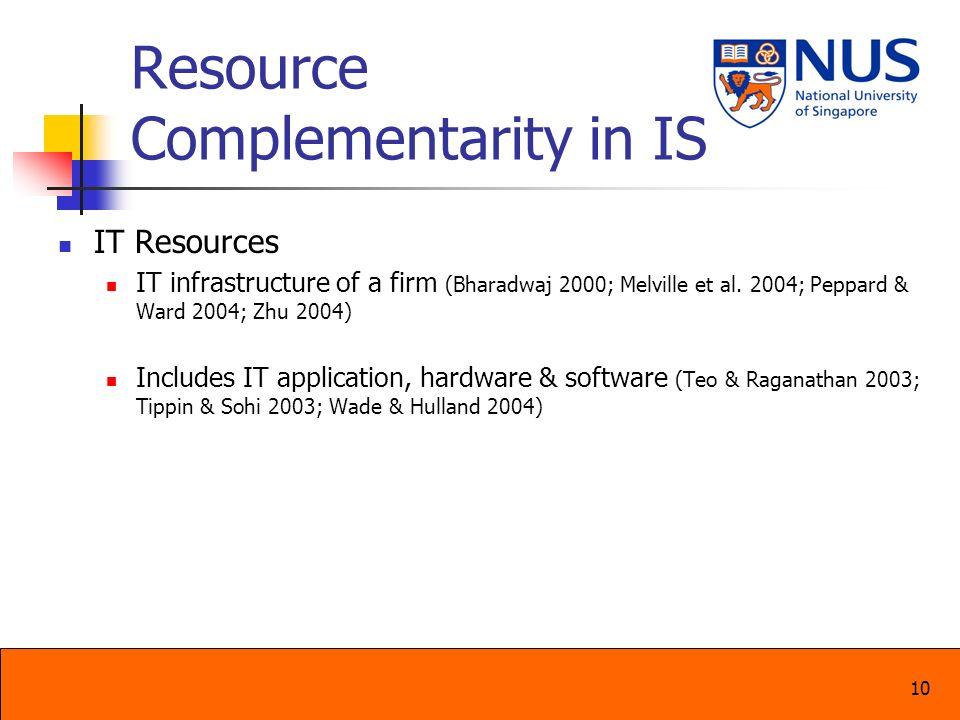 10 Resource Complementarity in IS IT Resources IT infrastructure of a firm (Bharadwaj 2000; Melville et al. 2004; Peppard & Ward 2004; Zhu 2004) Inclu