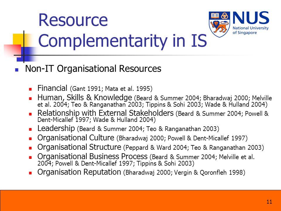 11 Resource Complementarity in IS Non-IT Organisational Resources Financial (Gant 1991; Mata et al. 1995) Human, Skills & Knowledge (Beard & Summer 20