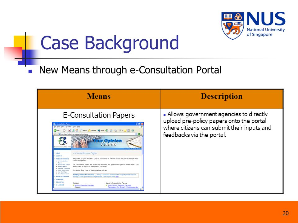 20 Case Background New Means through e-Consultation Portal MeansDescription E-Consultation Papers Allows government agencies to directly upload pre-po