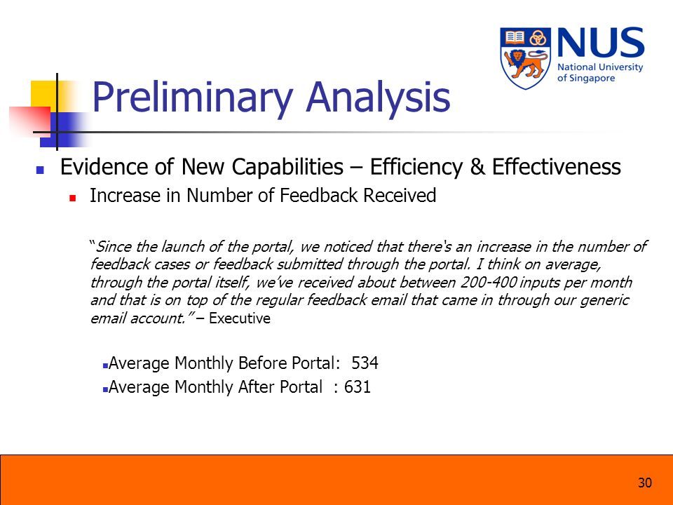 30 Preliminary Analysis Evidence of New Capabilities – Efficiency & Effectiveness Increase in Number of Feedback Received Since the launch of the port