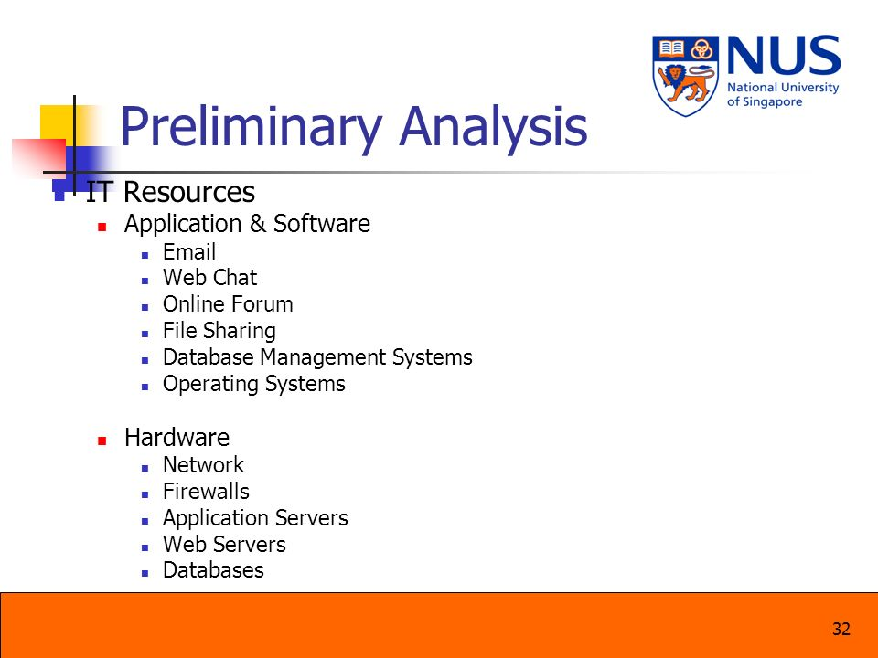 32 Preliminary Analysis IT Resources Application & Software Email Web Chat Online Forum File Sharing Database Management Systems Operating Systems Har