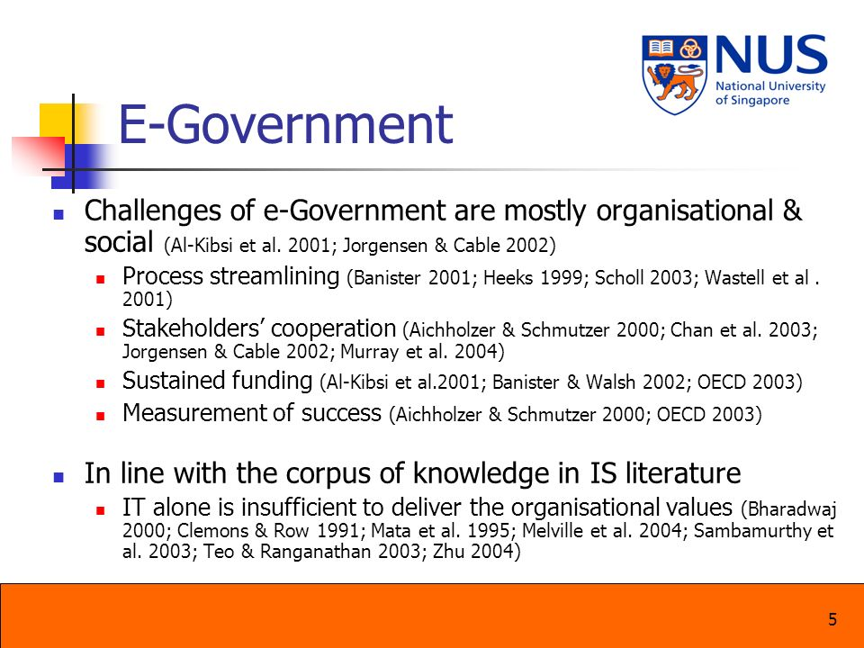 6 E-Government Little research on how government organisations actually achieves the promised capabilities through e-government initiatives Fewer empirical studies on e-government at the organisational level Objective: Understand the process of how the promised capabilities can be achieved Research Question Has the promised capabilities been achieved.
