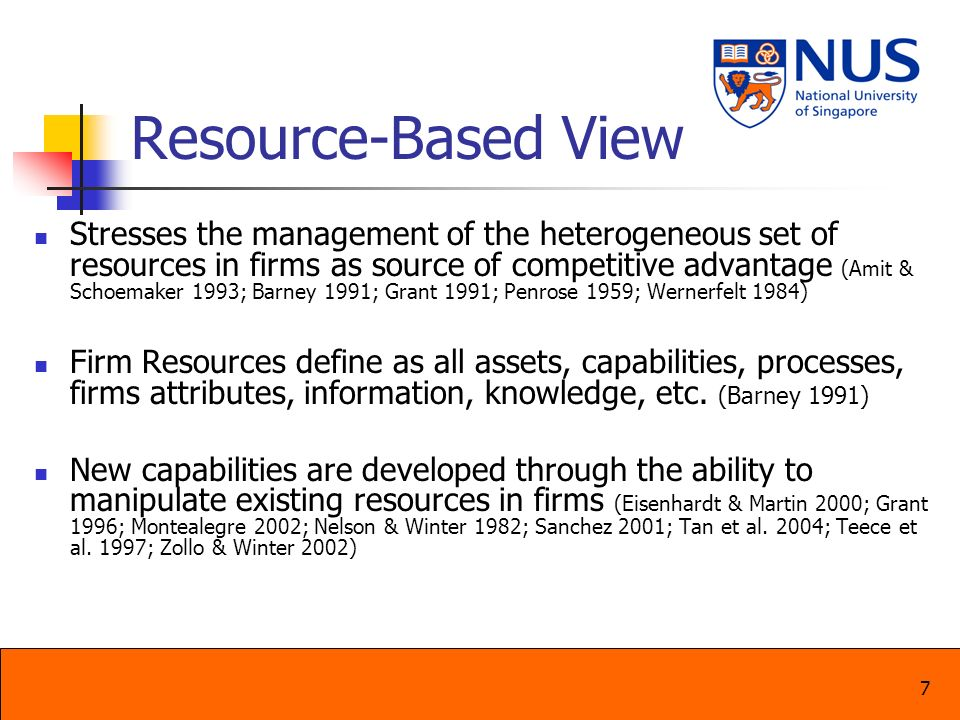 8 Resource Complementarity One noted way of resource manipulation in developing new capabilities is through achieving resource complementarity (Amit & Schoemaker 1993; Black & Boal 1994; Melville et al.