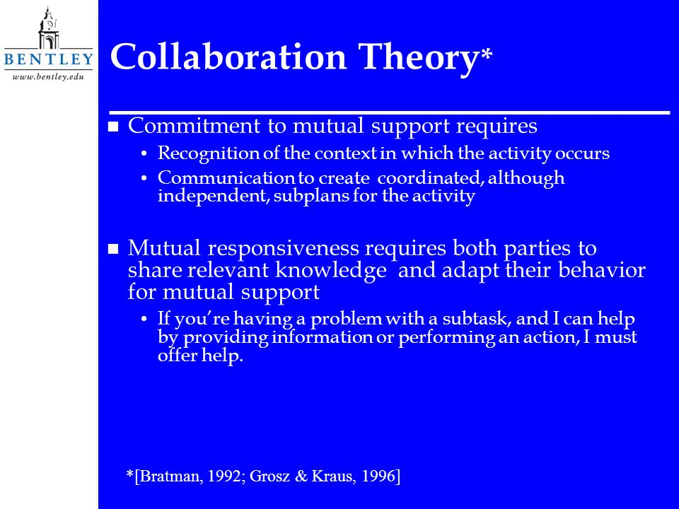 Collaboration Theory * n Commitment to mutual support requires Recognition of the context in which the activity occurs Communication to create coordinated, although independent, subplans for the activity n Mutual responsiveness requires both parties to share relevant knowledge and adapt their behavior for mutual support If youre having a problem with a subtask, and I can help by providing information or performing an action, I must offer help.
