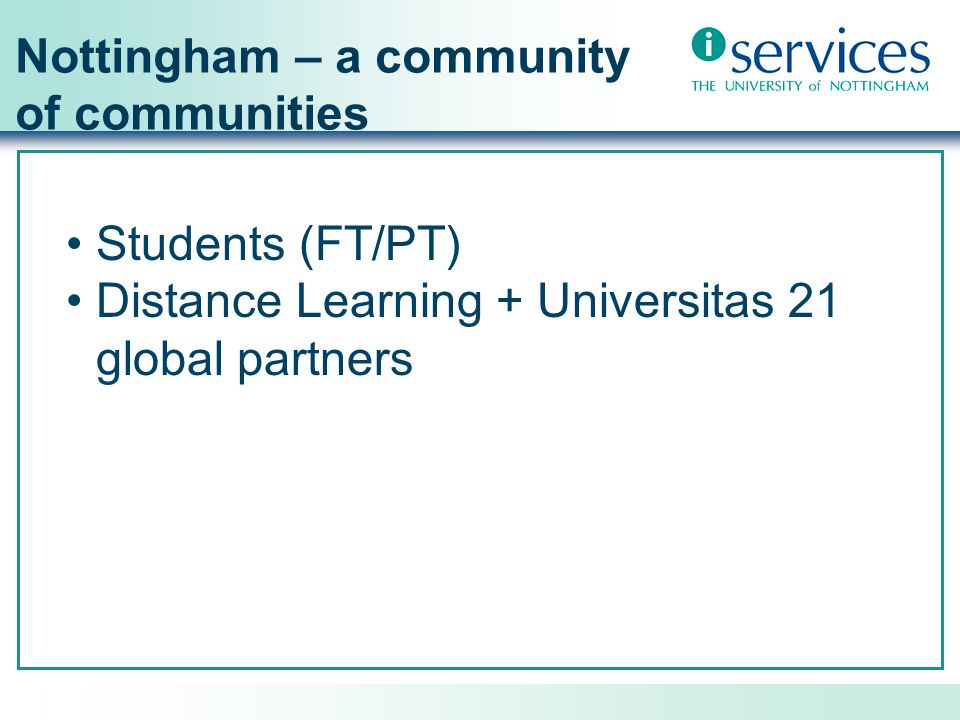 Nottingham – a community of communities Students (FT/PT)