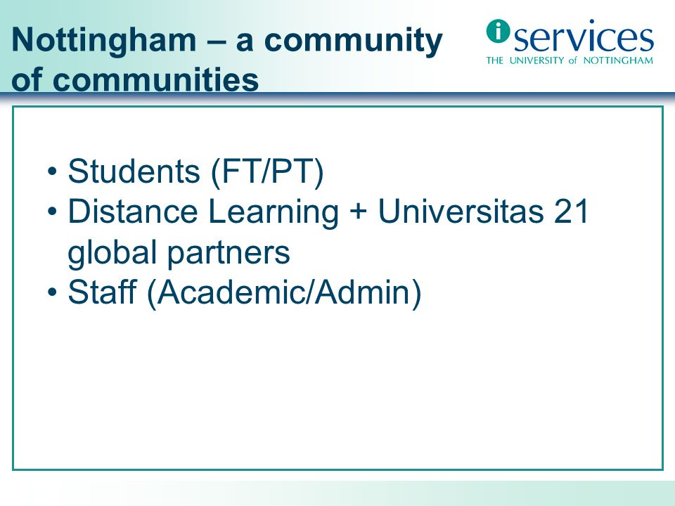 Nottingham – a community of communities Students (FT/PT) Distance Learning + Universitas 21 global partners