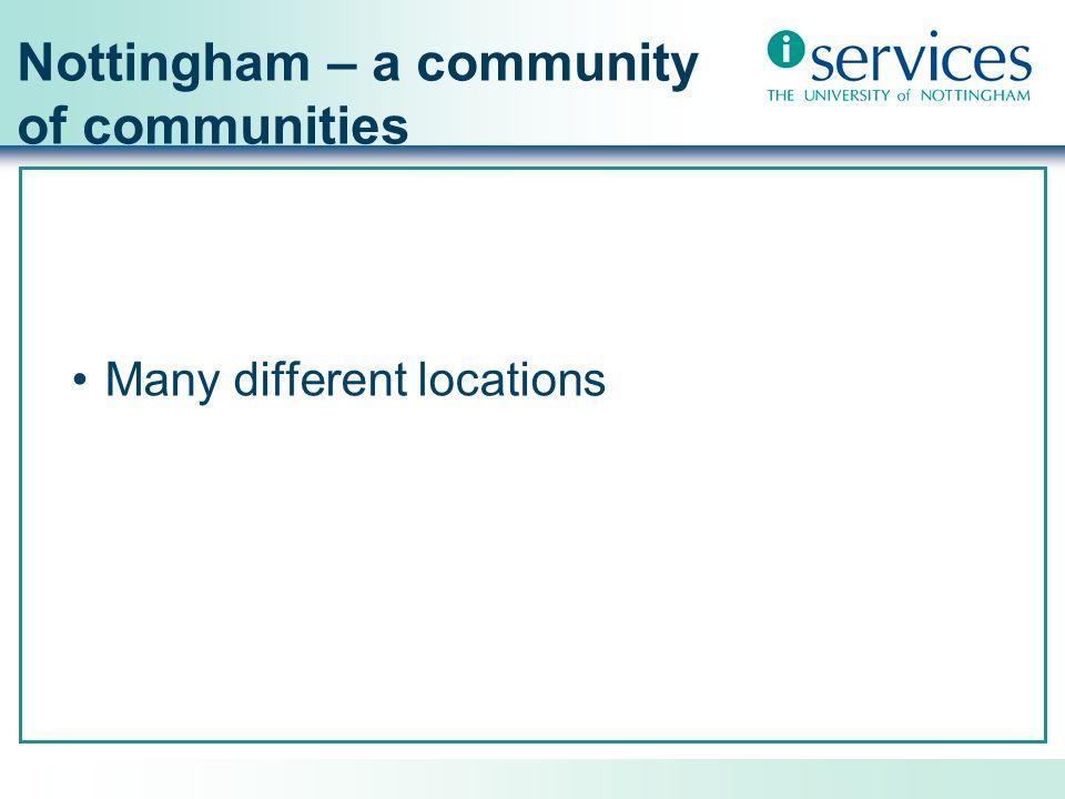 Nottingham – a community of communities Students (FT/PT) Distance Learners + Universitas 21 global partners Staff (Academic/Admin) Alumni