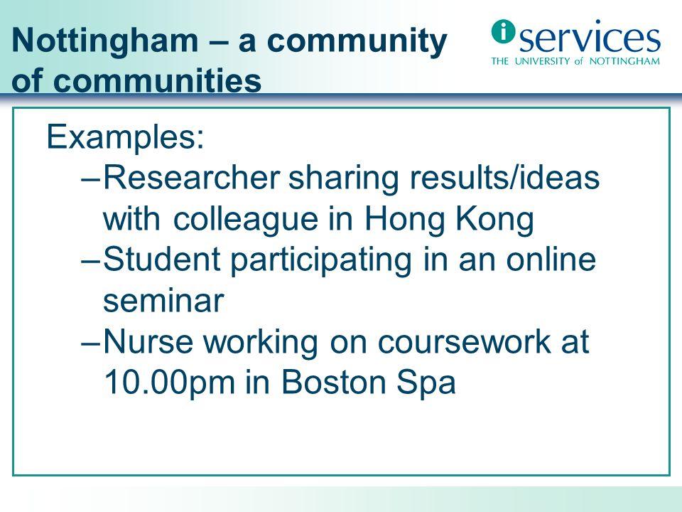 Nottingham – a community of communities Varied roles