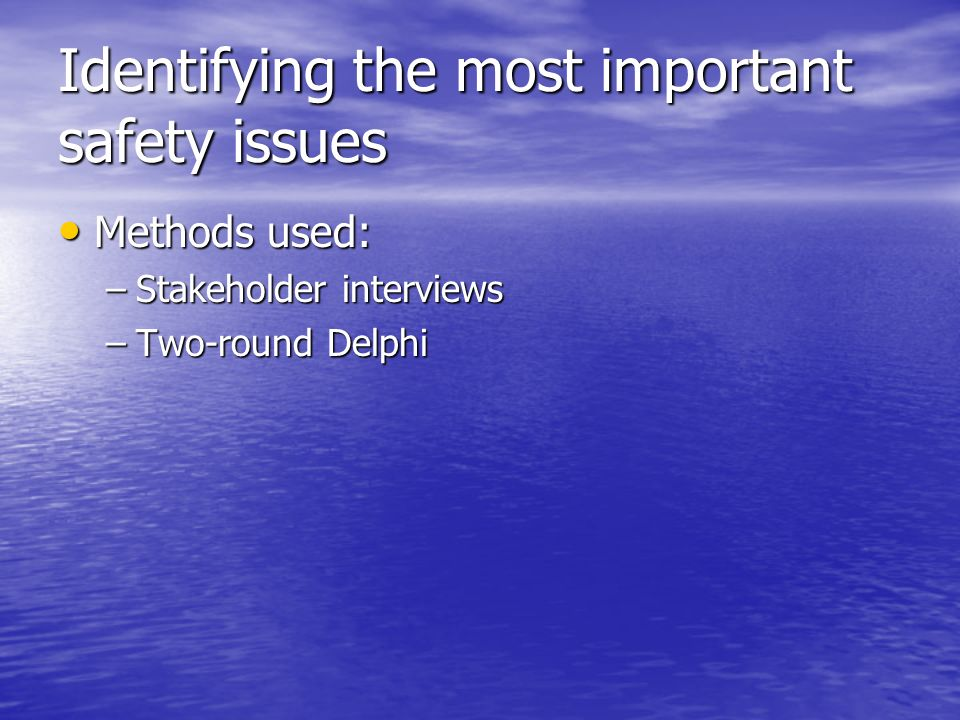Identifying the most important safety issues Methods used: Methods used: –Stakeholder interviews –Two-round Delphi
