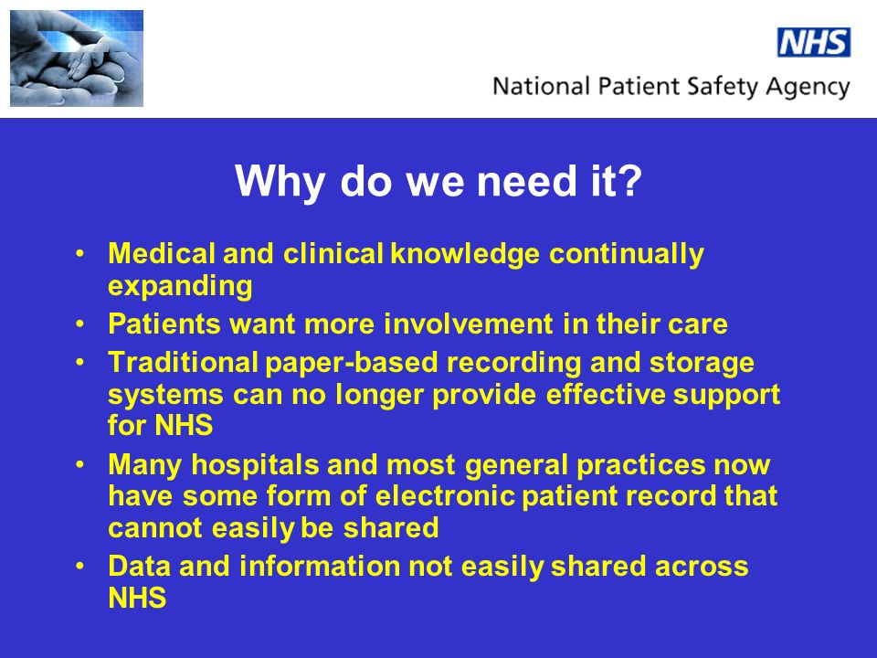 Why do we need it? Medical and clinical knowledge continually expanding Patients want more involvement in their care Traditional paper-based recording