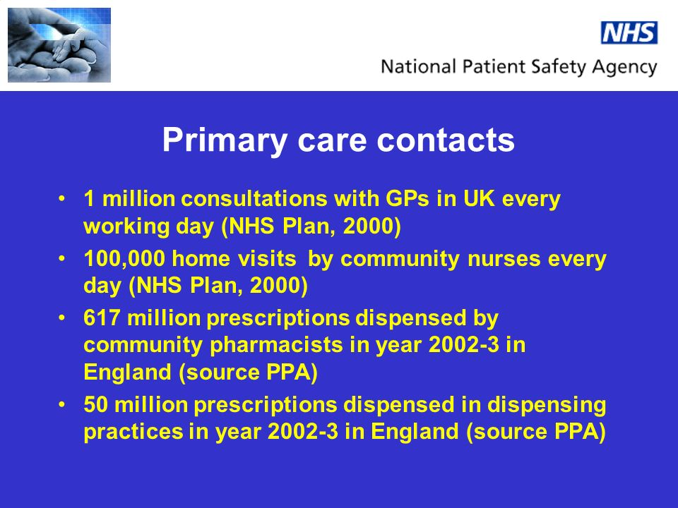 Primary care contacts 1 million consultations with GPs in UK every working day (NHS Plan, 2000) 100,000 home visits by community nurses every day (NHS