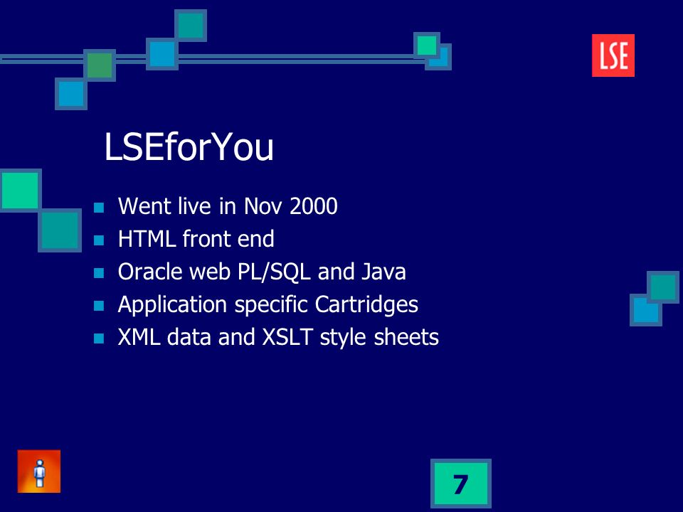 7 LSEforYou Went live in Nov 2000 HTML front end Oracle web PL/SQL and Java Application specific Cartridges XML data and XSLT style sheets