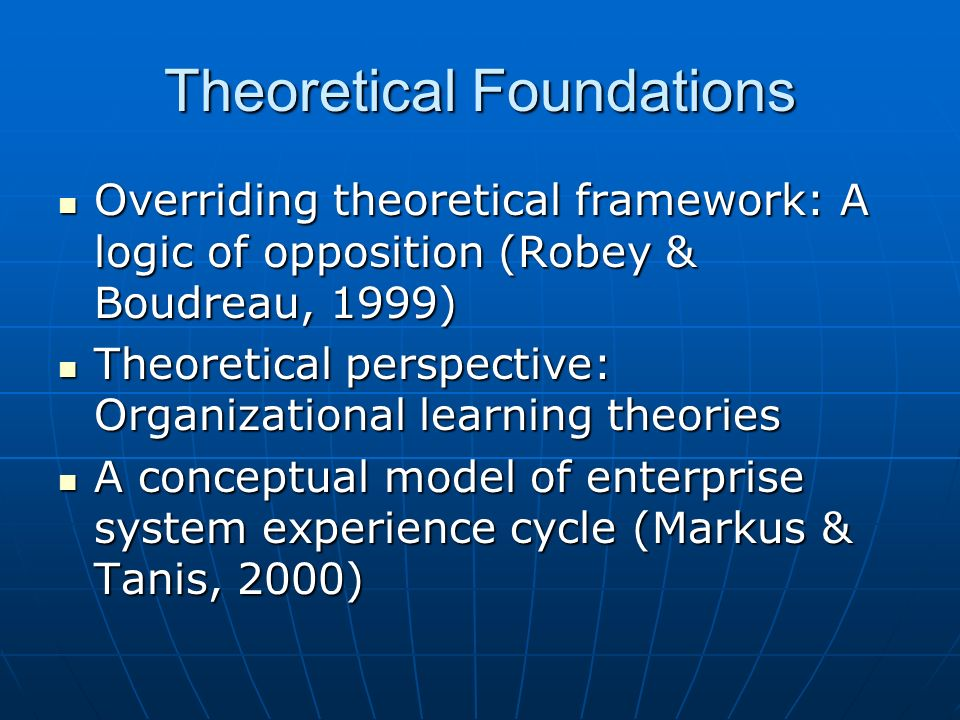 Theoretical Foundations Overriding theoretical framework: A logic of opposition (Robey & Boudreau, 1999) Overriding theoretical framework: A logic of opposition (Robey & Boudreau, 1999) Theoretical perspective: Organizational learning theories Theoretical perspective: Organizational learning theories A conceptual model of enterprise system experience cycle (Markus & Tanis, 2000) A conceptual model of enterprise system experience cycle (Markus & Tanis, 2000)