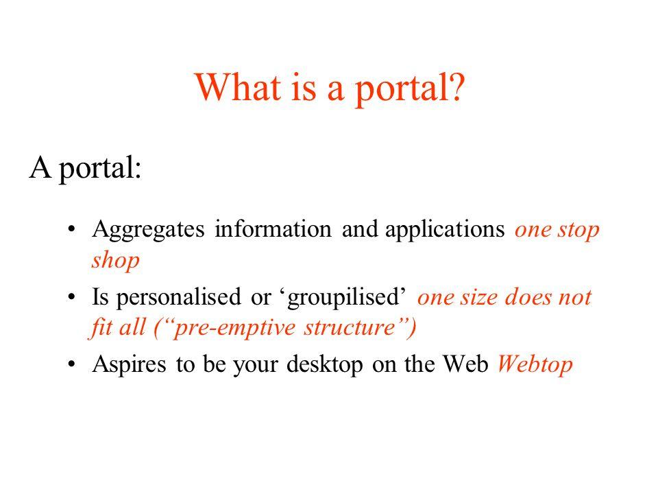Examples of portals Law Intranet VetSchool Portal Blackboard Amazon Tesco LSE for You TABS CHANNELS or PORTLETS