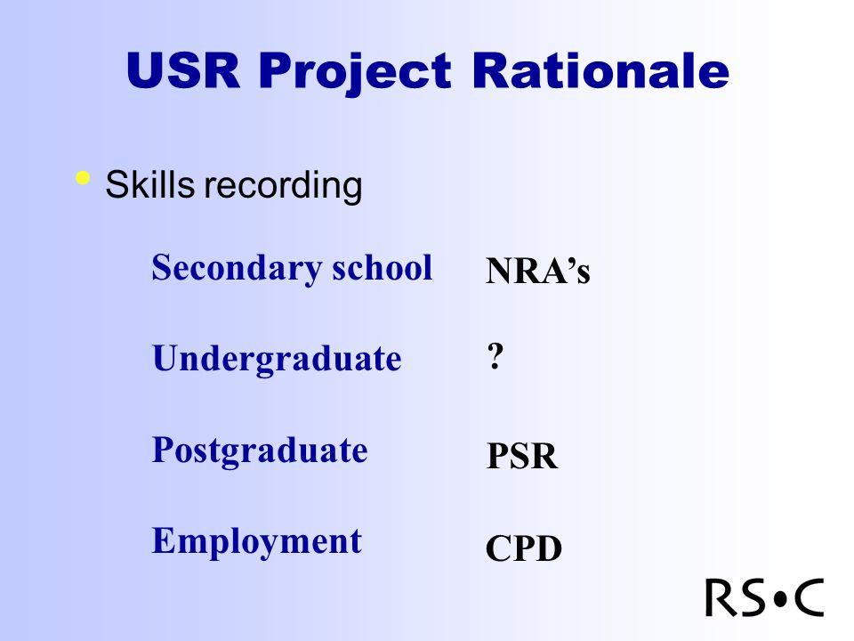 USR Project Rationale Skills recording Secondary school Undergraduate Postgraduate Employment NRAs .