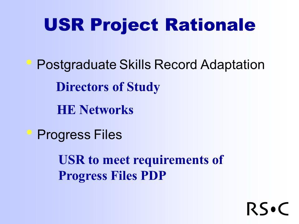 USR Project Rationale Postgraduate Skills Record Adaptation Directors of Study Progress Files USR to meet requirements of Progress Files PDP HE Networks