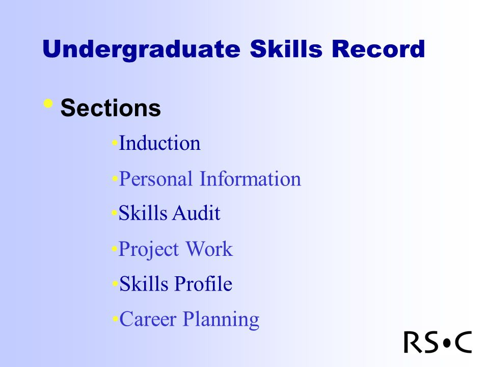 Undergraduate Skills Record Sections Induction Personal Information Skills Audit Project Work Skills Profile Career Planning