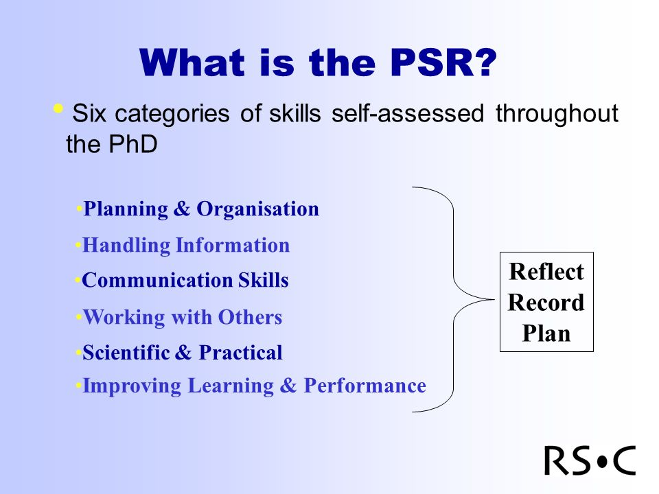 What is the PSR? Six categories of skills self-assessed throughout the PhD Planning & Organisation Handling Information Communication Skills Working w