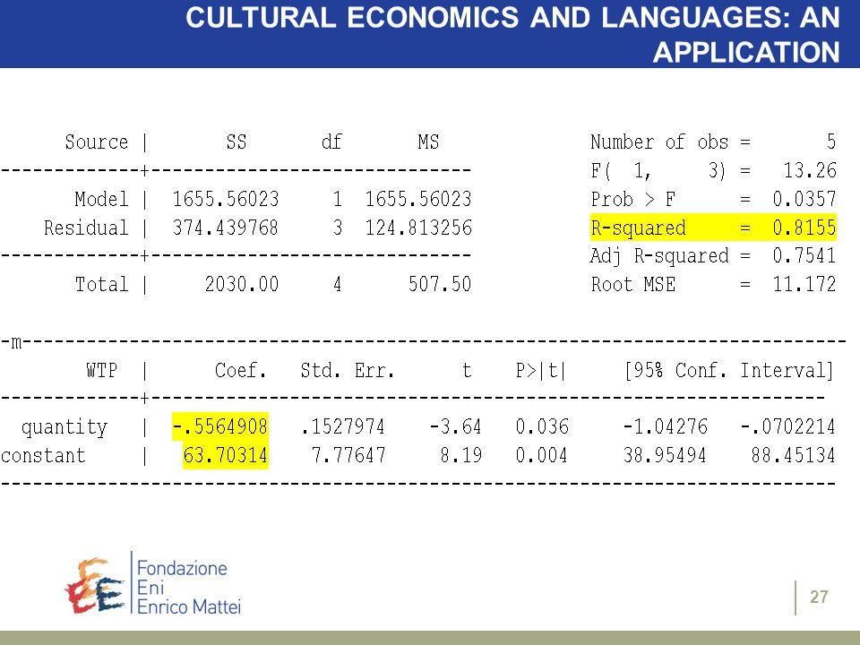 27 CULTURAL ECONOMICS AND LANGUAGES: AN APPLICATION